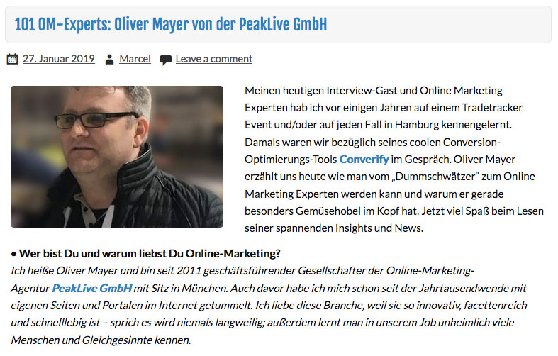 Oliver Mayer im Interview