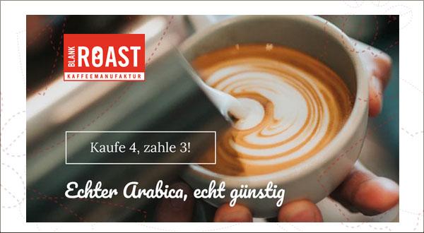 Gratis-Kaffe-Aktion bei Blankroast